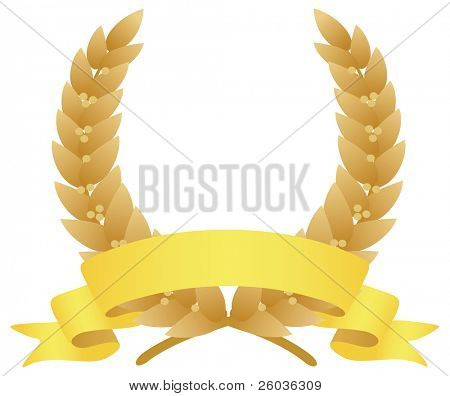 Laurel wreath and ribbon. Vector illustration
