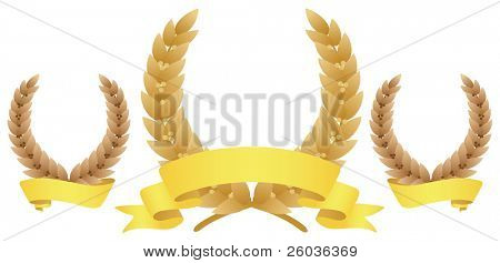 Tree laurel wreaths. Vector illustration