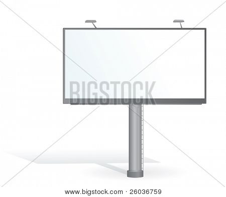 Advertising billboard with lamps on white. Vector illustration
