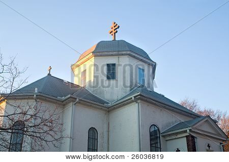 Romanian Orthodox Church Dome And Cross