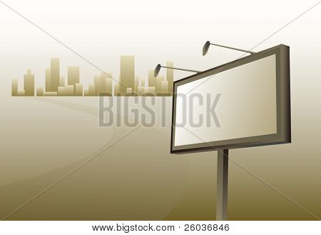 Advertising billboard and road to city. Vector illustration