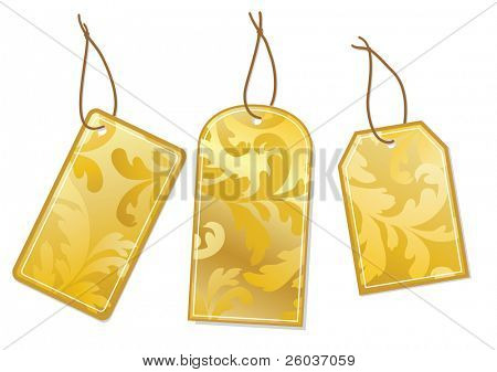 Three gold labels Vector illustartion
