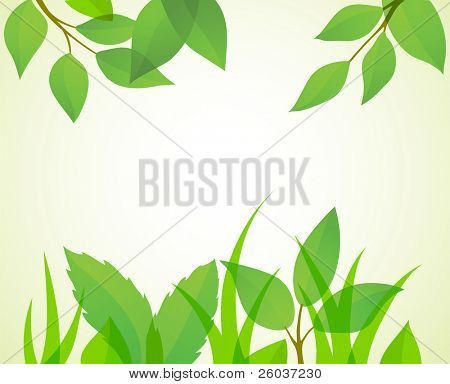 Green summer background. Vector illustration