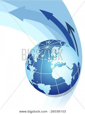 Abstract background with globe. Vector illustration