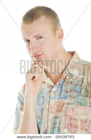 Portrait of man. Isolated on white background