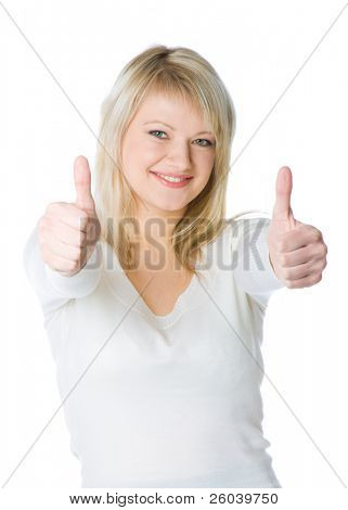 Attractive young blond woman with two thumbs up with a laughing expression. Isolated on white background