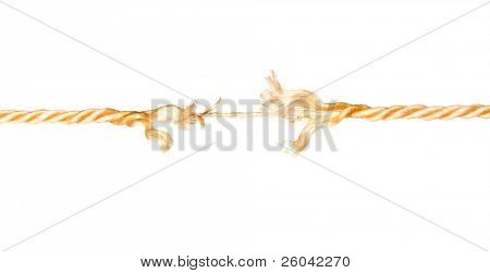 Defective rope. Isolated on the white background