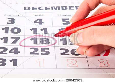Red circle marked date on a calendar
