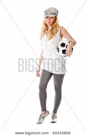Young blond woman with a bag shaped like a soccer ball. Isolated on white background