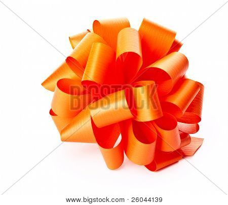 Orange bow. Isolated on the white background
