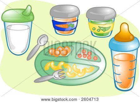 Baby Food Set Illustration