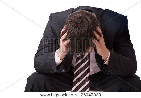 Businessman to fall into depression.Isolated on white