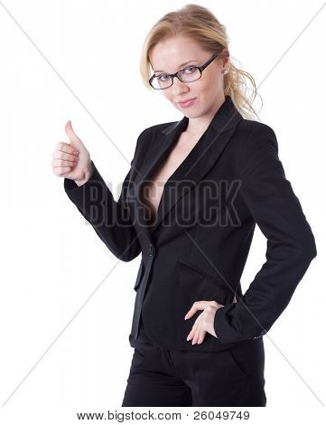 a smiling businesswoman in showing