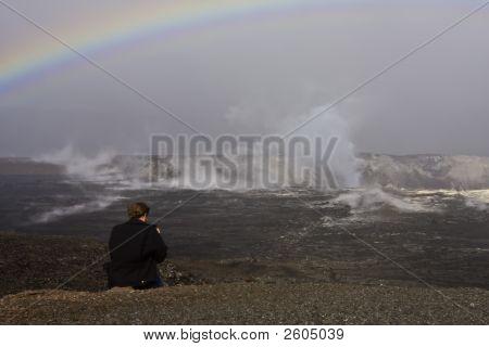 Tourist At Kilauea
