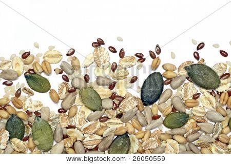 Seeds and cereals, background vignette