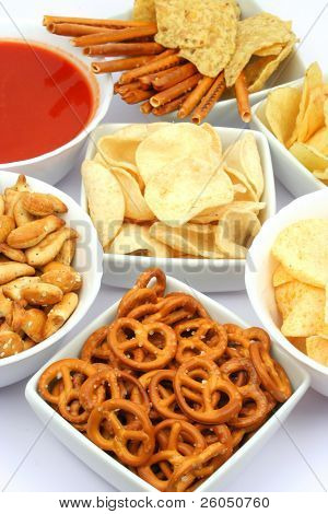Pretzels, chips and salsa dip