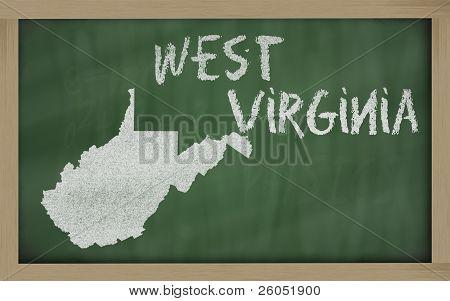 Mapa de contorno de Virginia Occidental en pizarra