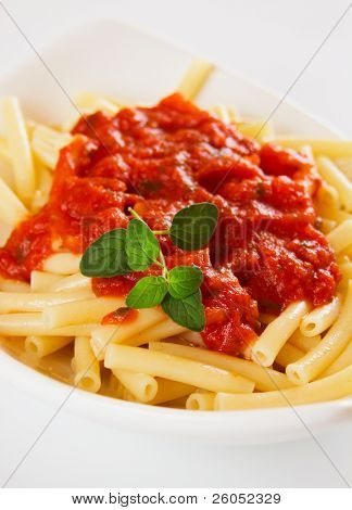 Italian macaroni pasta with tomato sauce and oregano