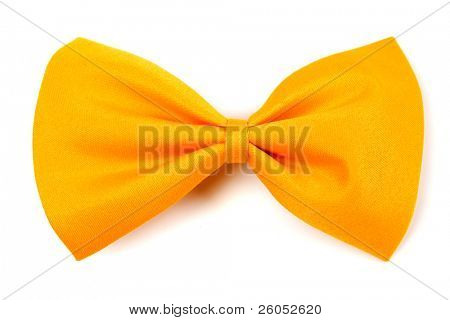 Yellow bow tie isolated on white background