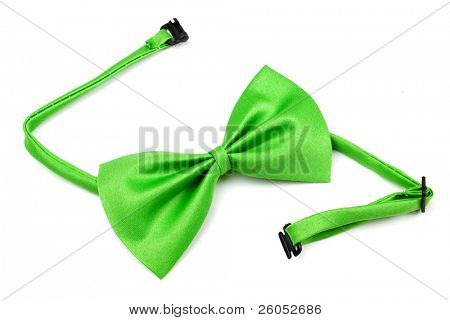 Classic green bowtie isolated on white background