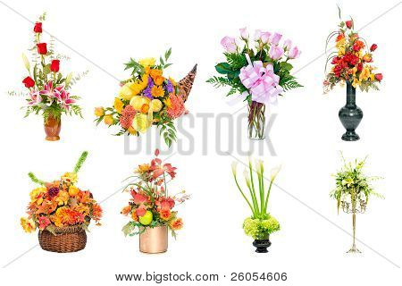 Collection of various colorful flower arrangements centerpieces as bouquets in vases and baskets