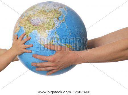 Globe In Baby'S Hands.