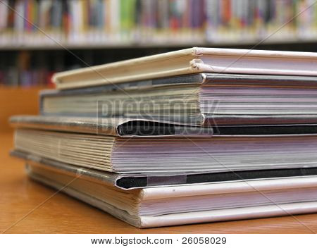 close-up of some books in the  library