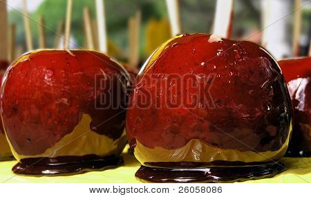 close-up of some toffee apples