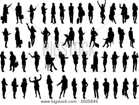 50 Businesswomen Silhouette.Eps