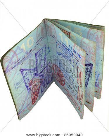 open us passport with visa stamps