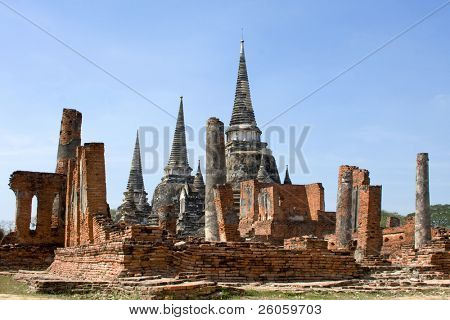 The ruins of the old walled city of Ayutthaya, the former capital of Thailand.