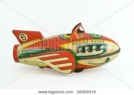 old tin rocket racer toy