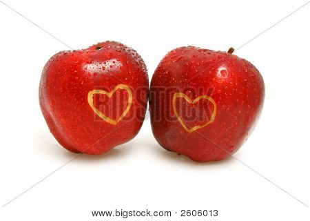 Two Apples With Hearts