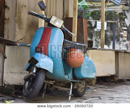 old vespa moped in china town KL malasia