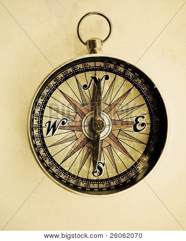old  compass  on old paper