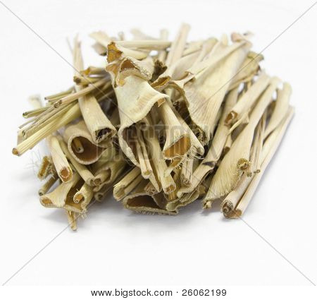 a pile of lemon grass isolated on white