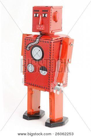 retro robot toy  on white