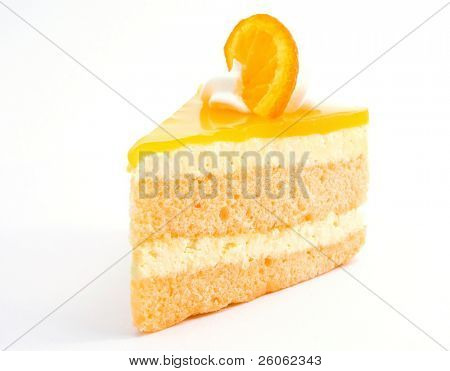 orange cheesecake on white