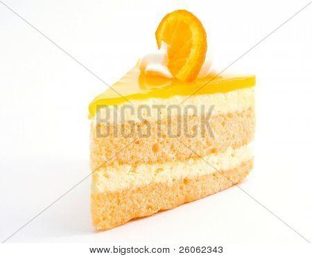 orange cheesecake on white