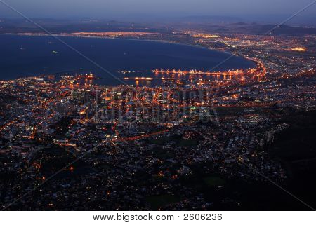 Night Cityscape Of Cape Town From Birdview