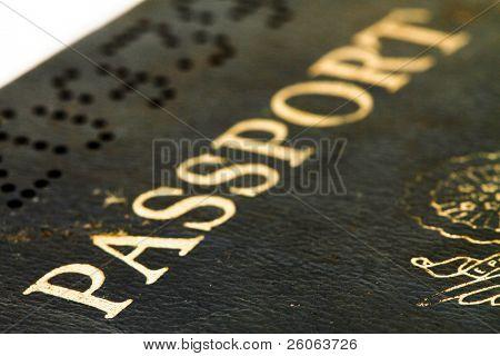 a macro image of an old usa passport