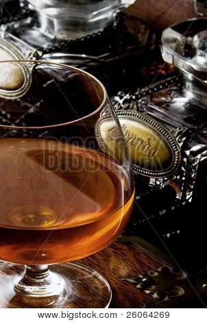 brandy on a wooden surface