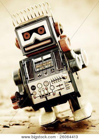 retro robot on gold