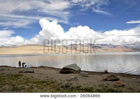 Shooting film in the Himalayas (high altitude lake in Tibet)