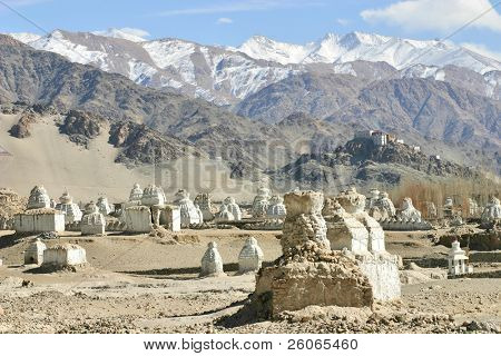 Buddhist stupas and monastery in the Himalayas (Ladakh, Kashmir, India)