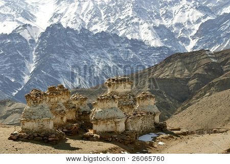 Buddhist stupas in the Himalayas (Ladakh, Kashmir, India)