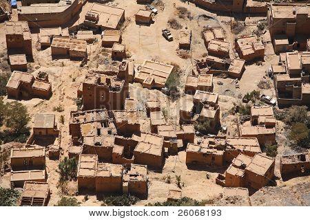 Aerial view on mountain village in Yemen