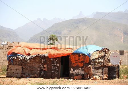 Shack with satellite antenna on Socotra island
