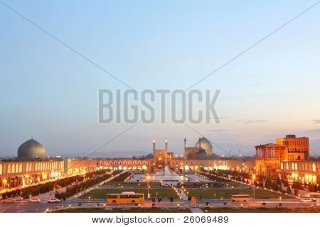 Night view of Esfahan, Iran. Naqsh-i Jahan Square in Isfahan, Iran