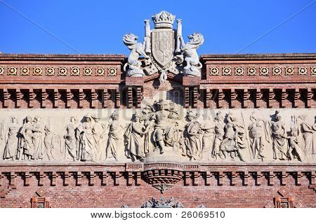 Fragment of triumphal arch in Barcelona